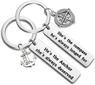 TGBJE Anchor Compass Gift She's The Compass He's Always Longed for,He's The Anchor She's Always Deserved Keychain Set Inspiring Couple Gift for Boyfriend Girlfriend