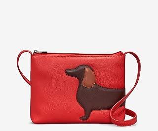 Yoshi Red Leather Dottie The Dachshund Sausage Dog Cross Body Bag