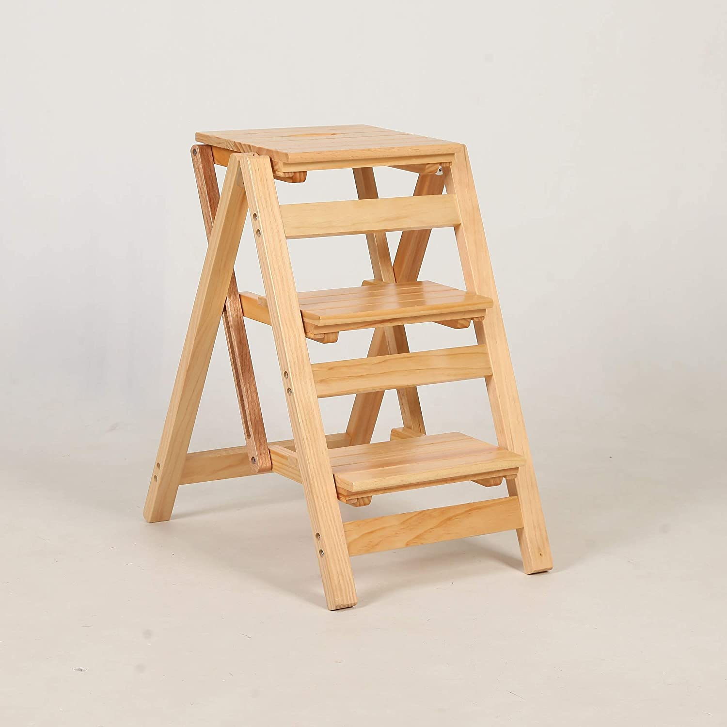 WFZCP [Alternative dealer] Folding Step Ladder Cheap mail order sales Wood Home Space Ch Dual-Purpose
