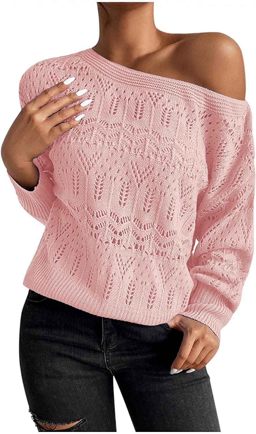 iLUGU Women's Casual Sexy One Shoulder Knitted Sweater Solid Hollow Out Long Sleeve Loose Pullover Top Winter