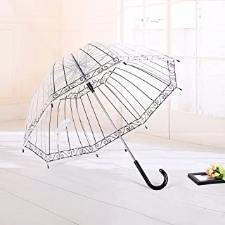 Windproof Stick Rain Umbrella Large Clear Transparent Waterproof Umbrella Automatic Open with 8 Ribs for Kids Women Men