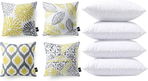 wholesale Phantoscope Bundles, Set of 4 New Living Series wholesale Yellow and Grey Pillow Covers 18 x 18 inches & outlet sale Set of 4 Pillow Inserts 20 x 20 inches online sale
