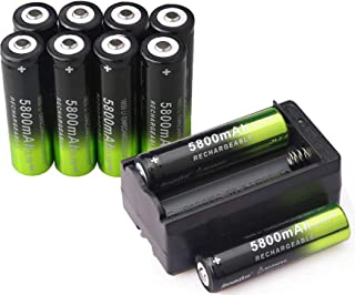 10 PCS 3.7V 18650 5800mAh Rechargeable High Performance Lithium ion Battery with 1 PCS Dual Smart Battery Charger For High Power Handheld Flashlight Headlight Headlamp and Torch