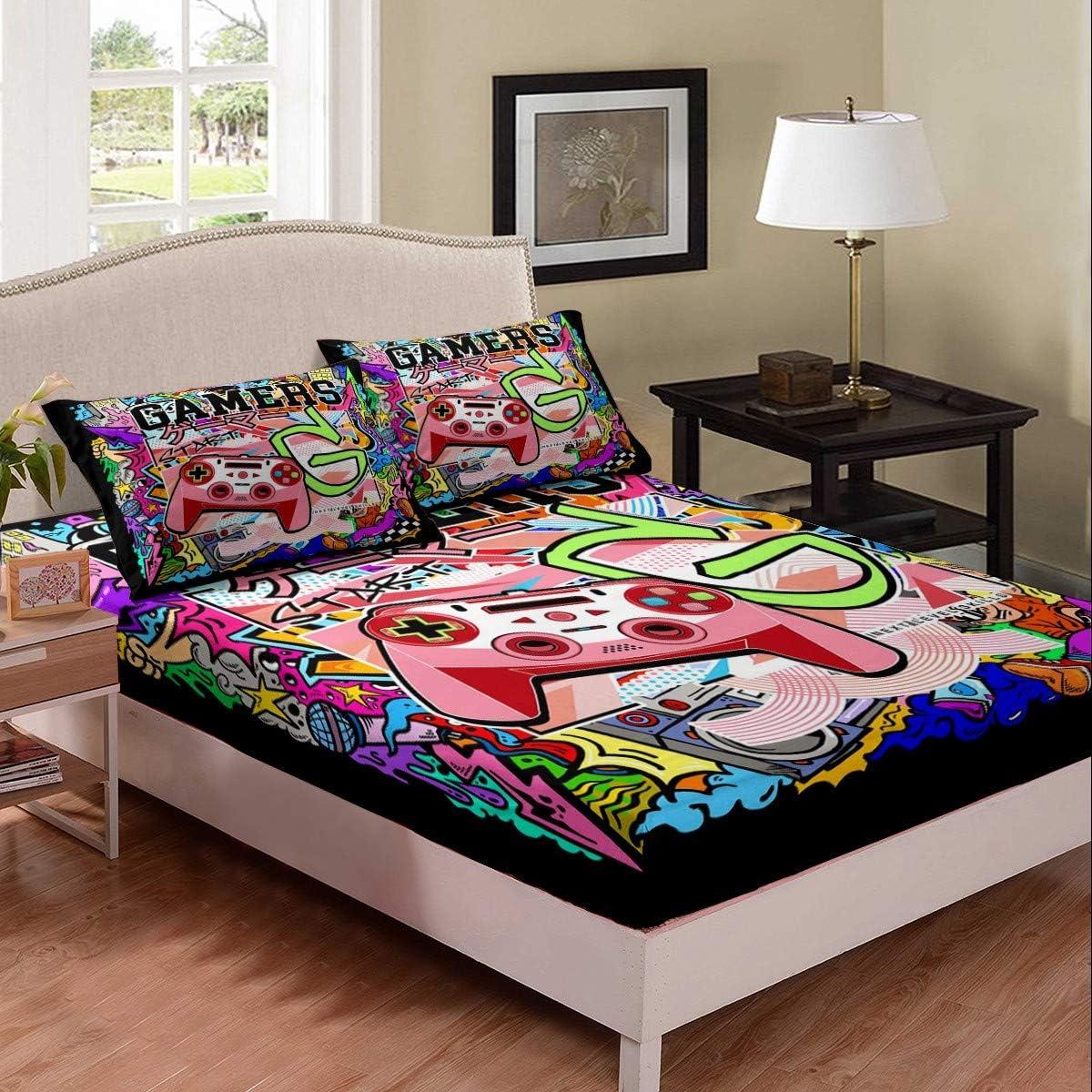Erosebridal Gamer Bedding Set Pink Gamepad Graffiti Bed Cover Hi いよいよ人気ブランド 新品 送料無料