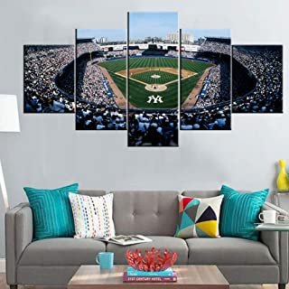 New York Yankees Team Pictuers Old Yankee Stadium Paintings American Baseball Park Wall Art 5 Panel Canvas Modern Artwork Home Decor for Living Room Framed Gallery-rapped Ready to Hang(60''Wx32''H)