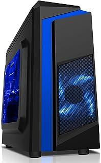CiT, Carcasa de computadora F3 Midi para Gaming, con Ventilador de 12cm con luz LED Verde, Color Negro Azul Azul