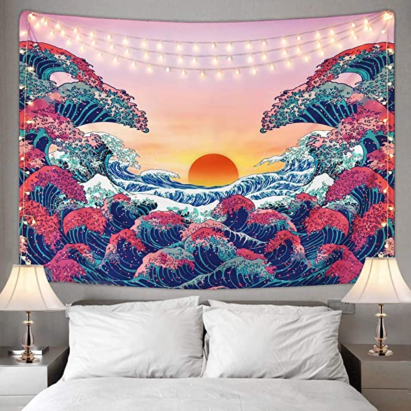 Ucio Wall Tapestry For Bedroom Ocean Wave Tapestry Sunset Tapestry 3D Great Wave Tapestry Japanese Tapestry For Room