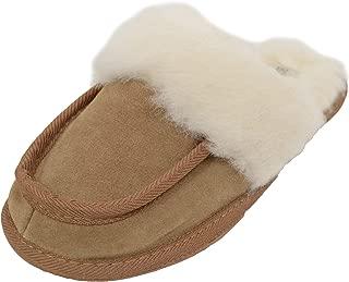 SNUGRUGS Womens Lambswool Lined Mule Slipper, Light Weight Sole & Wool Cuff