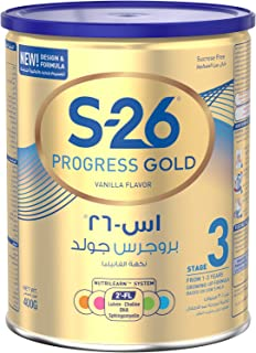 Wyeth Nutrition S26 Progress Gold Stage 3, 1-3 Years Premium Milk Powder for Toddlers Tin with Nutrilearn System - 400 gm