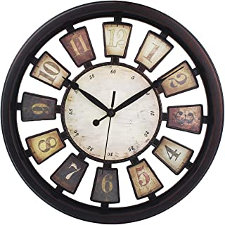Vintage Wall Clock Non-Ticking Hollow Nordic Style Clocks Battery Operated 13.2 Inch Easy To Read ,Black Rust