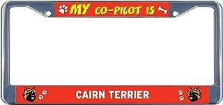 Sign Destination Metal Insert License Plate Frame Cairn Terrier Dog My Co-Pilot Weatherproof Car Accessories Chrome 2 Holes Solid Insert 1 Frame