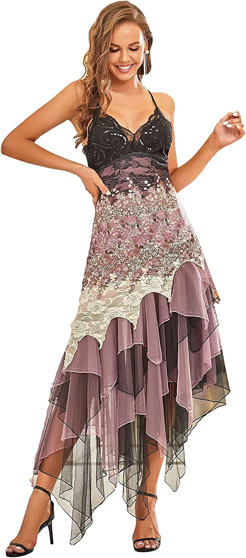 Ever-Pretty Women's Sleeveless Tea Length A-line Dress Lace Cocktail Dress 6212B