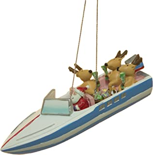 SS Santa and Reindeer Party Boat Christmas Ornament