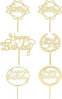 Bestonzon 6pcs Happy Birthday Cake Topper Double-Sided Glitter Birthday Cupcake Toppers Picks Birthday Cake Decor for Birt...