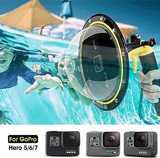 AuyKoo Puerto de Domo para GoPro Hero 7/6/5 Black/2018 Alojamiento Impermeable Buceo Cubierta de Lentes para GoPro GoPro Burbuja Agarre Flotante Subacuática Carcasa Accesorios
