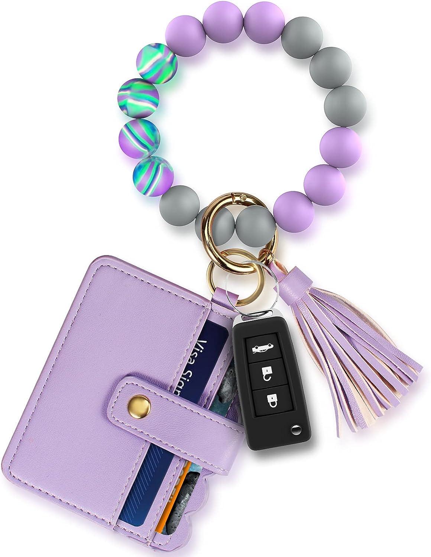 Wristlet Keychain Key Ring Bracelet: Silicone Chain Beaded Bangle Card Holder