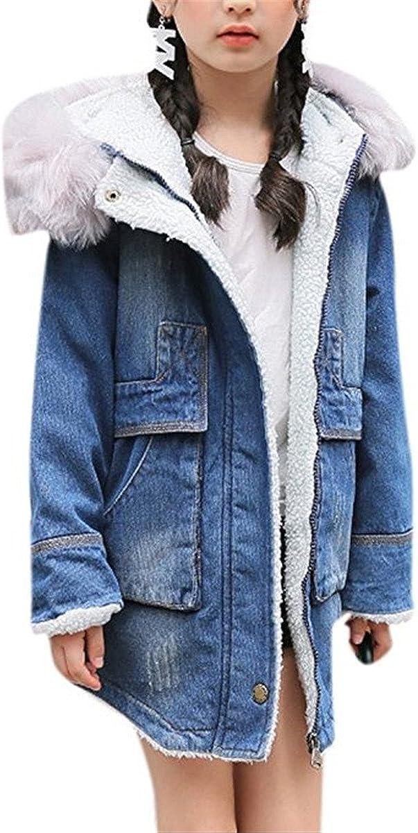 JELEUON Little Big Girls Kids Warm Long Sleeve Shearling-Lined Winter Fur Hooded Denim Jacket Coat Outwear