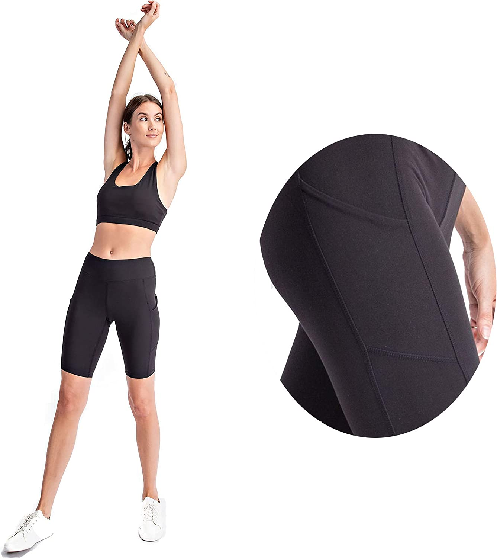 High Rise Biker Shorts with Side Pockets Butter Soft Athleisure Wear Active Leisurewear Womens Shorts Regular & Plus Size