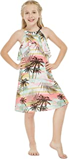 Girl Hawaiian Round Neck with Ruffle Dress in Neon Sunset