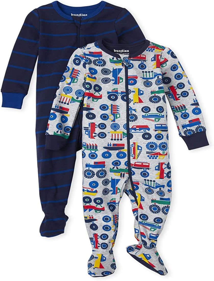 The Children's Place Boys' Baby and Toddler Truck Snug Fit Cotton One Piece Pajamas 2-Pack