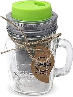 Cold Brew Coffee Maker Mason Jar Mug and Silicone Lid - Loose Leaf Tea Infuser & Herbal Tea Steeper - Brews, Strains & Steeps Single Cup of Extra Fine Tea Mason Jar Mug and Silicone Drinking Lid