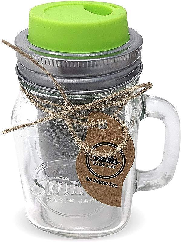 Cold Brew Coffee Maker Mason Jar Mug And Silicone Lid Loose Leaf Tea Infuser Herbal Tea Steeper Brews Strains Steeps Single Cup Of Extra Fine Tea Mason Jar Mug And Silicone Drinking Lid