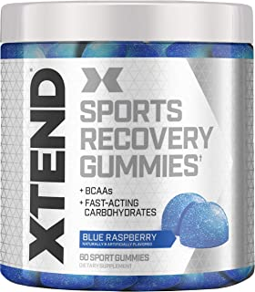 XTEND Sports Recovery Gummies with 3.5g Branched Chain Amino Acids, BCAAs + Fast-Acting Carbohydrates, Blue Raspberry, 60 ...