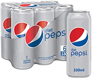 Diet Pepsi, Carbonated Soft Drink, Cans, 330 ml Pack of 6