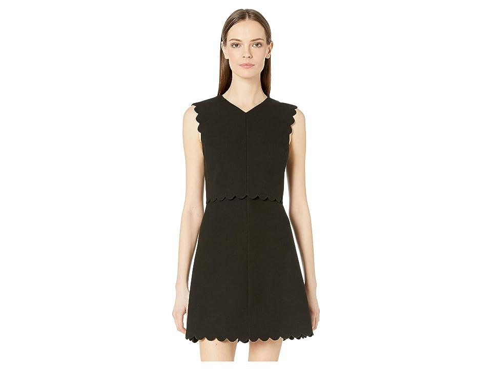 Rebecca Taylor Sleeveless Scallop Dress (Black) Women
