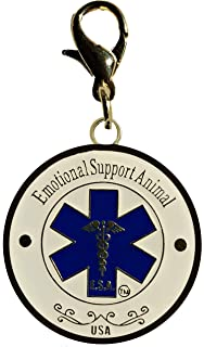 Emotional support Animal, Fancy, Bling Gold Color Plated Dog Tag E.S.A, Service Dog (Double Sided)