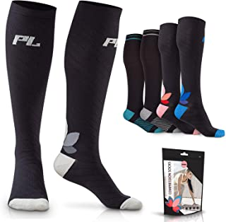 POWERLIX Compression Socks for Women & Men (1 Pair) 20-30 mmHg - Medical Knee High for Circulation, Swelling, Foot Pain - ...