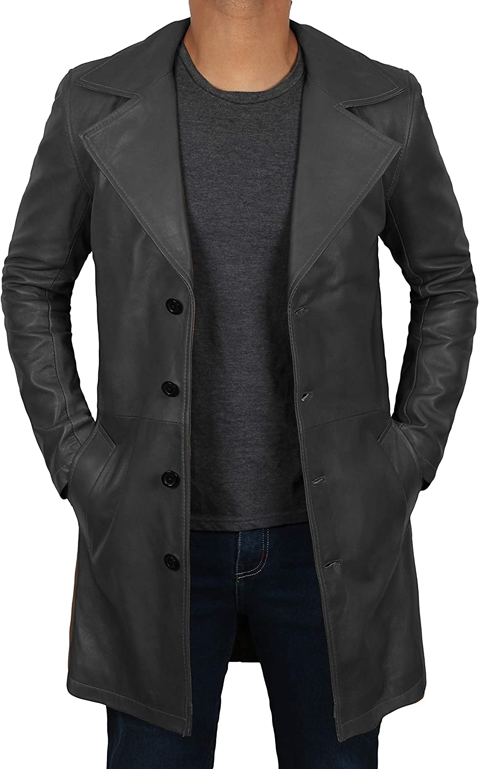 Leather Trench Coat Mens - 100% Real Leather Duster Overcoat Men Jacket