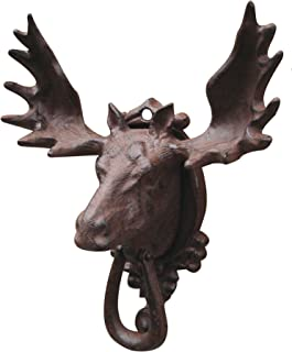 Treasure Gurus Bull Moose Elk Door Knocker Rustic Cast Iron