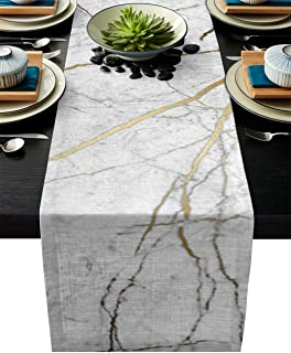 Linen Burlap Table Runner, Marble Texture Kitchen Table Runners for Family Dinner, Banquet, Parties and Celebrations, Grey...