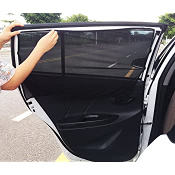 YASUOA 2 Pieces Car Sun Shade Side Window Curtain Sunshade Breathable Mesh Protection with 6 Suction Cup for Vehicle Cars and SUVs Windshield Rear Windows,43 77cm Black
