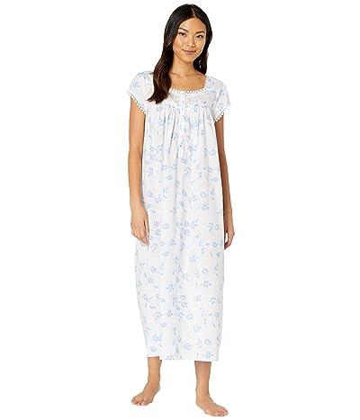 Eileen West Cotton Lawn Woven Cap Sleeve Ballet Nightgown (White Ground/Floral/Paisley) Women