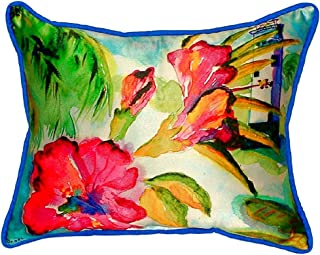 """Betsy Drake SN225 Lighthouse & Florals Pillow,,11"""" X14"""""""