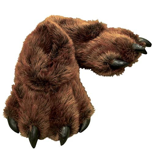 Mens Furry Bear Paw Slippers With Claws