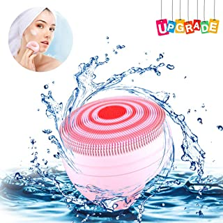 In18 Electric Face Scrubber, Face Wash for Women Sonic Face Cleanser Auto-Disinfection Self Heating Rechargeable Medical Grade Silicone with a 15% Larger Clean Round Area(Vivid Pink)