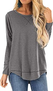HIYIYEZI Fall Tops for Women Long Sleeve Side Split Casual Loose Tunic Top