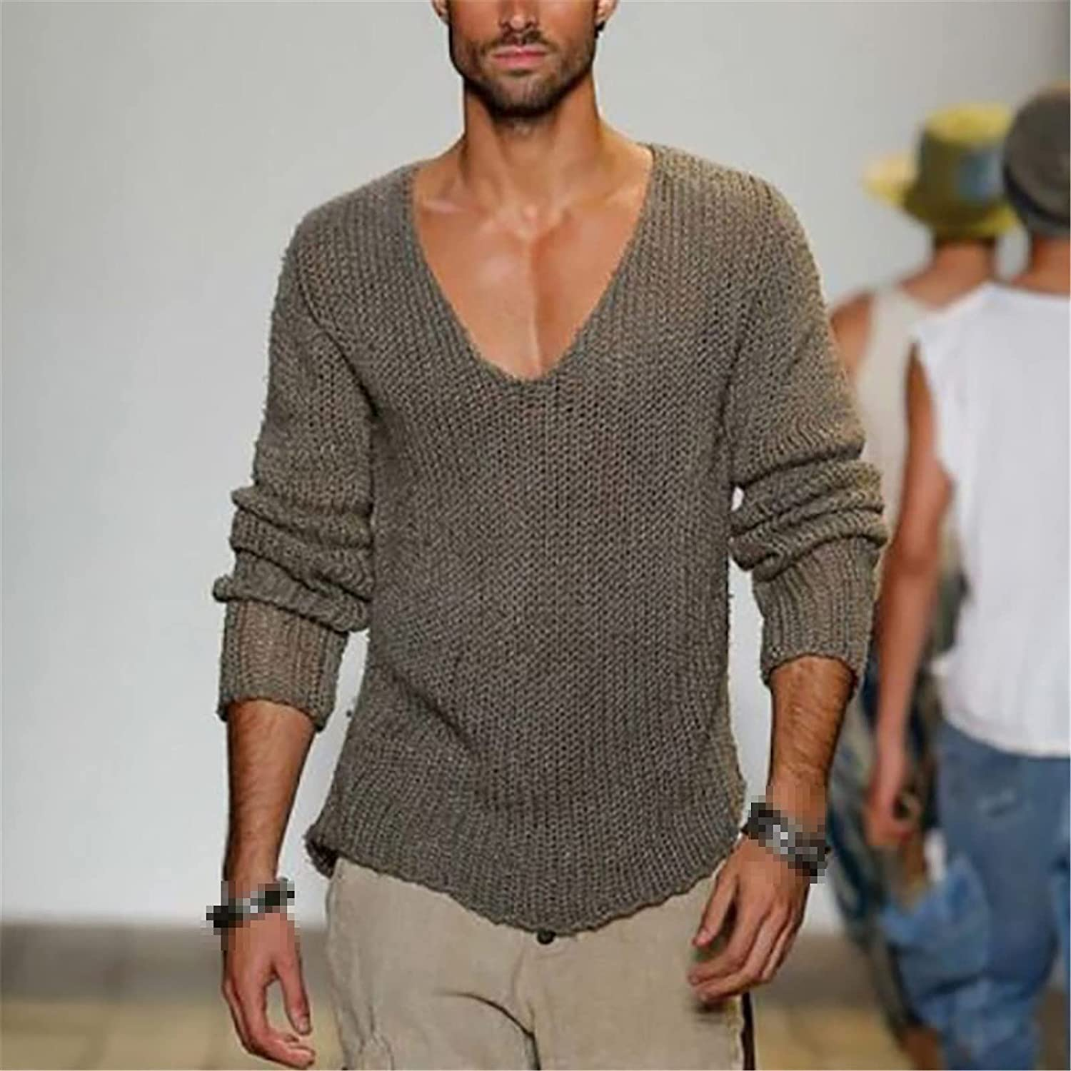 LKIUGVV Spring Autumn Sweater Men Casual Pullover Men Long Sleeve Deep V Neck Solid Knitted Men Sweaters Streetwear