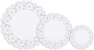 300 Pcs White Lace Paper Doilies 4.5 Inch, 6.5 Inch, 9.5 Inch 3 Assorted Sizes Disposable Paper Table Decorative Paper Placemats Bulk for Cake, Desert, Wedding, Tableware Decoration