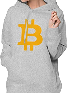 DGGE Bitcoin Logo Womens Hoodies Sweatshirts Clothing and Sports