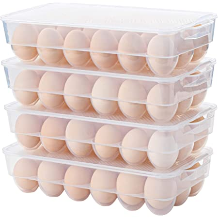 Clear Plastic Egg Holder for Refrigerator, Stackable Egg Storage Trays With Lid & Handles, Plastic Egg Box Carrier 4 Pack, BPA-Free Egg Storage Container for 18 Eggs