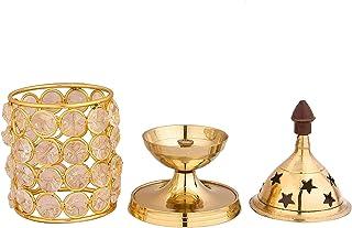 Shubhkart Akhand Diya Decorative Brass Crystal Oil Lamp Holder Lantern | Puja Lamp