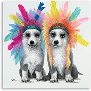B BLINGBLING Colorful Dog Canvas Wall Art: Large Black White Dogs Artwork with Indian Chief Feather Headdress Puppy Prints Animal Pictures for Kids Bedroom Nursery Decor Framed Ready to Hang 24