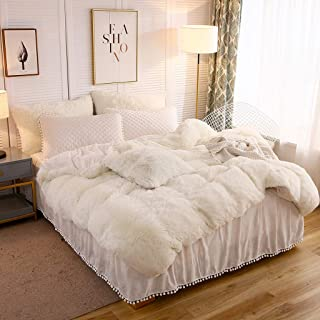 LIFEREVO Luxury Shaggy Plush Duvet Cover 1 PC Crystal Velvet Mink Reverse Ultra Soft Hidden Zipper Closure (Light Beige, Queen)
