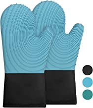 ZERO JET LAG Silicone Oven Mitts Set Non Slip 500°F Resistant Terry Cloth Lining Long Professional Gloves Pot Holders for Kitchen Cooking Baking BBQ 1 Pair 13.4 in
