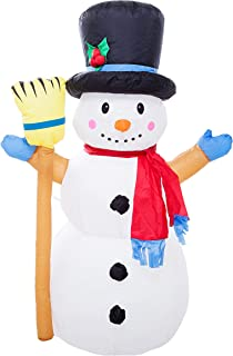 Athoinsu 4ft Christmas Inflatables LED Snowman Airblown Holiday Yard Decoration Colorful Kaleidoscope Snowman with A Hat in/Outdoor (S,LED)