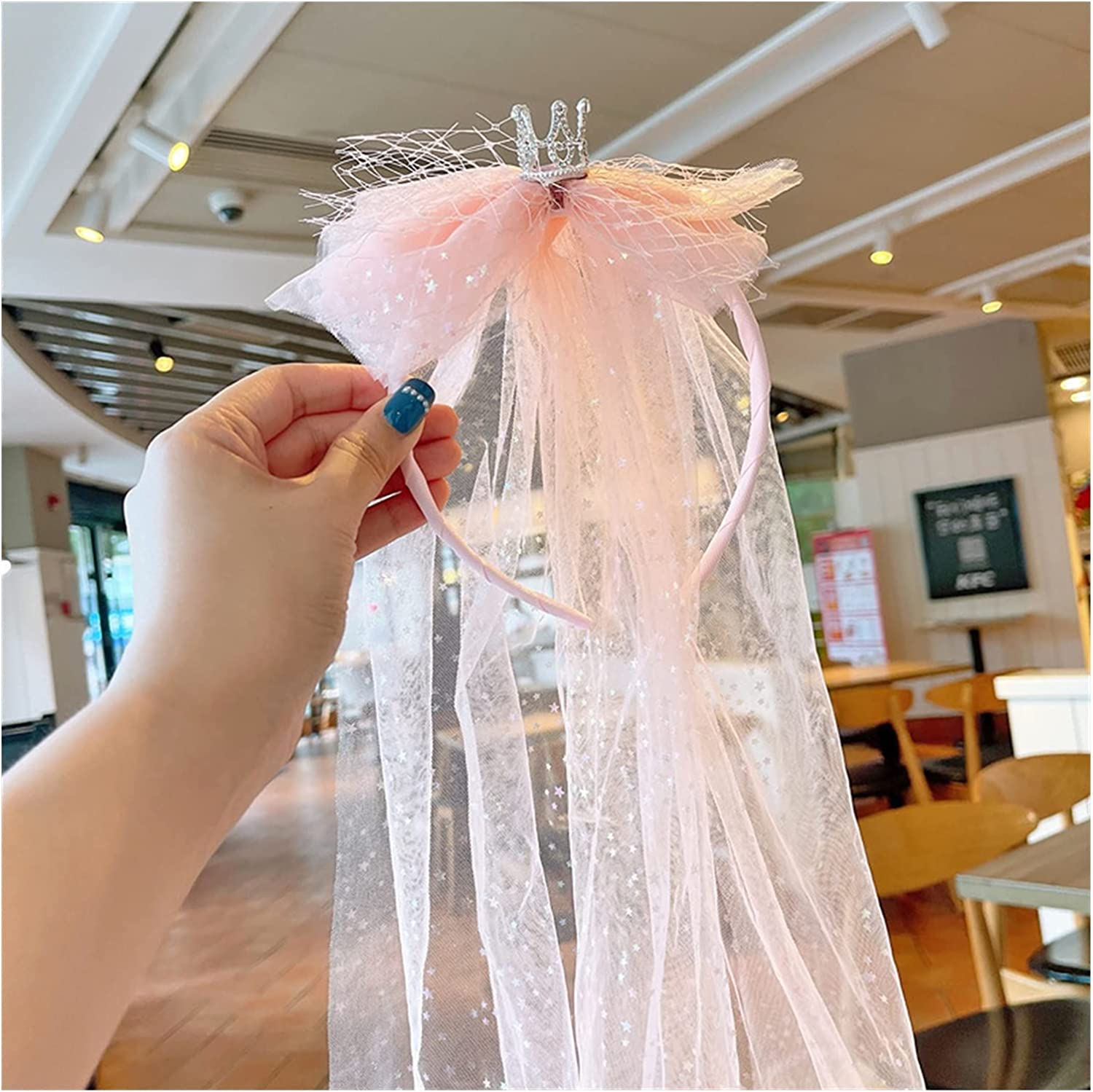 XKMY Flower Girl's First Communion Veil Headband with Bow Crown Headdress Birthday Party Christmas Veil Hair Accessories (Color : Pink)